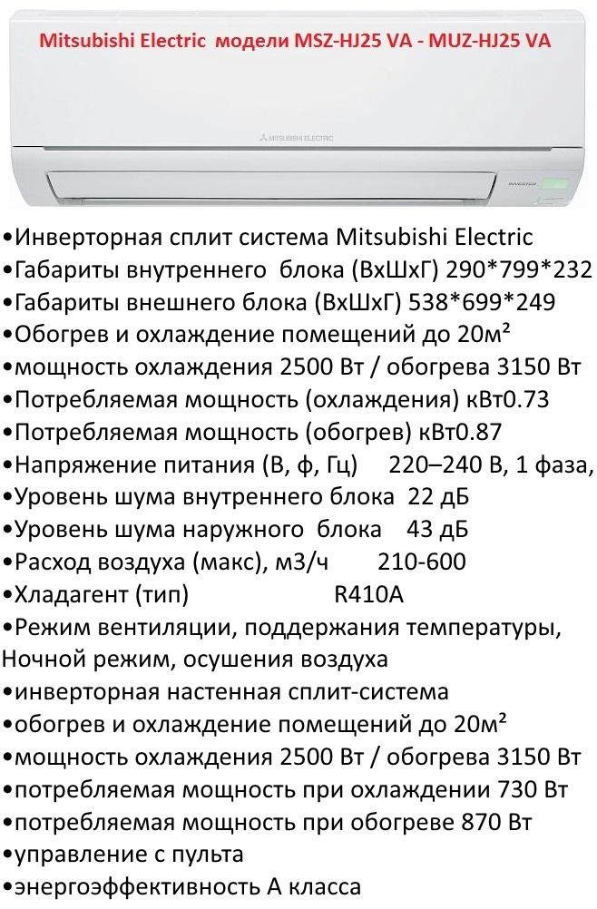 Mitsubishi Electric модели MSZ-HJ25 VA - MUZ-HJ25 VA Classic Inverter